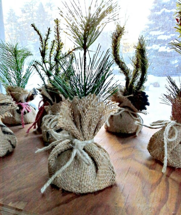 DIY mini faux pine tree saplings | StowandTellU.com