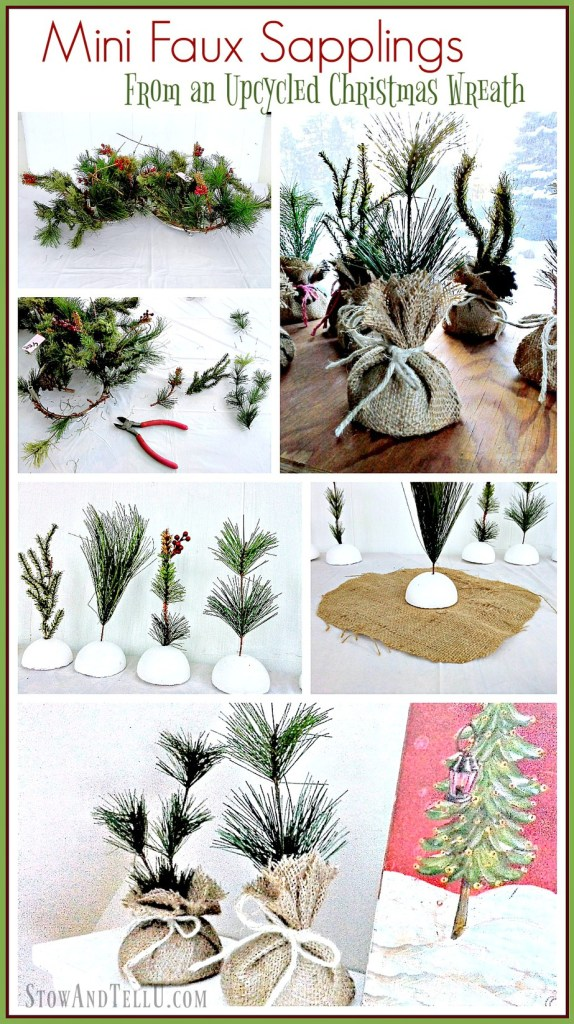 Mini faux saplings made from an upcycled Christmas wreath - StowandTellU.com