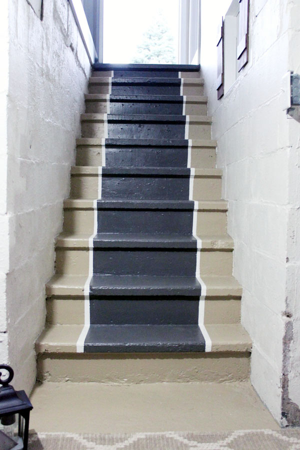 DIY Stair Runner Paint Trimmed Edge
