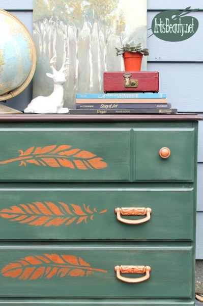 Copper and green decor inspiration: painted dresser | Art is Beauty