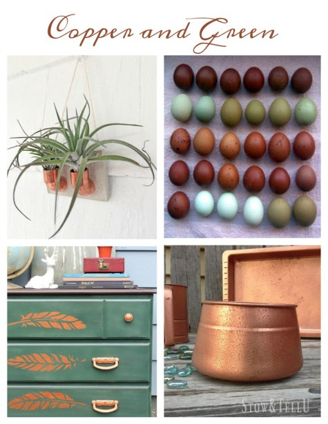 Copper and green decor ideas | Stowandtellu.com