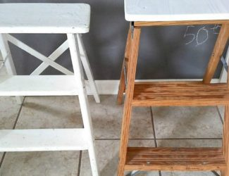 DIY step ladder chair or stool for extra seating. Small space living | StowandTellU.com
