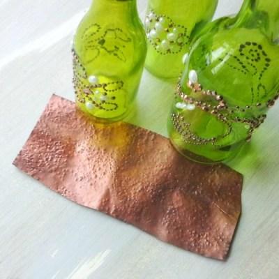 Green glass and hammered copper   StowAndTellU.com