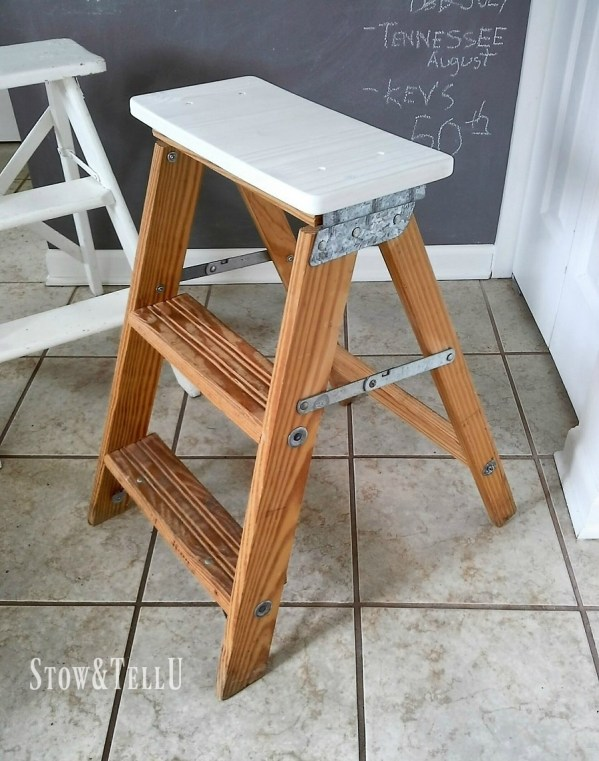 How to turn a wooden step ladder into a stool or chair for extra seating - StowandTellU.com