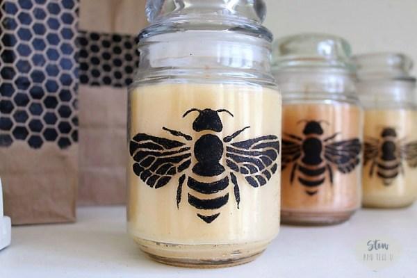 How to make bee stenciled jar candles | Stowandtellu.com