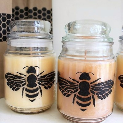 How to stencil jar candles with honey bee design | Stowandtellu.com
