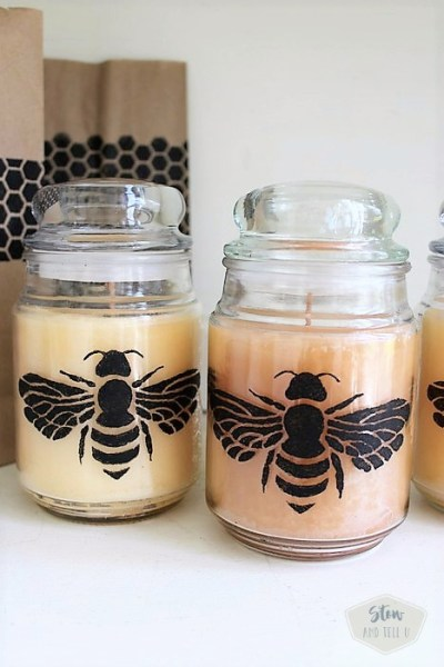 How to stencil a jar candle. Honeybee honeycomb stencil   Stowandtellu.com