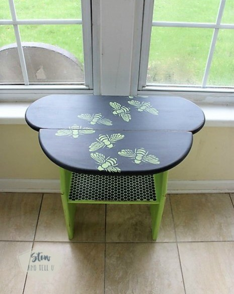 swarming-bee-paterned-stencil-table