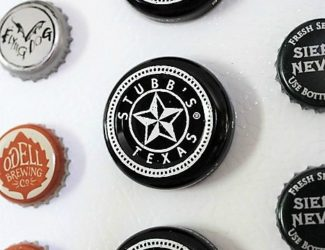 Repurposed beer and barbecue sauce bottle cap magnets | stowandtellu.com