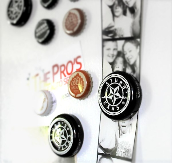Make bottle cap magnets with beer caps and barbecue sauce jar lids   stowandtellu.com