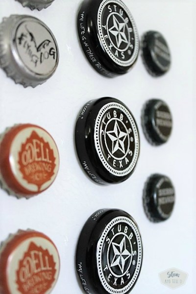 Upcycled beer and barbecue sauce bottle cap magnets | stownadtellu.com