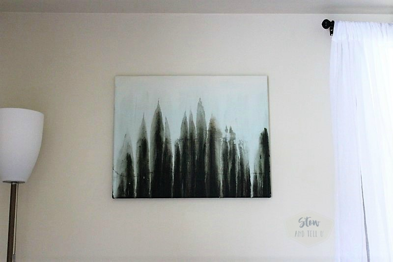 Faux forest drip art | abstract water color forest scene | stowandtellu.com