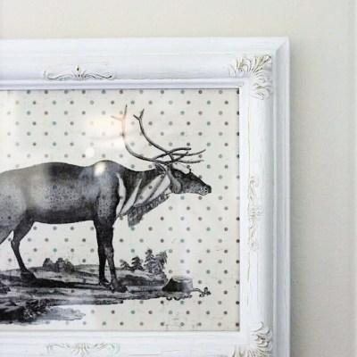 Polka Dot Scrapbook Paper Christmas Reindeer Wall Art