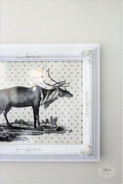 Scrapbook paper Christmas reindeer wall art   stowandtellu