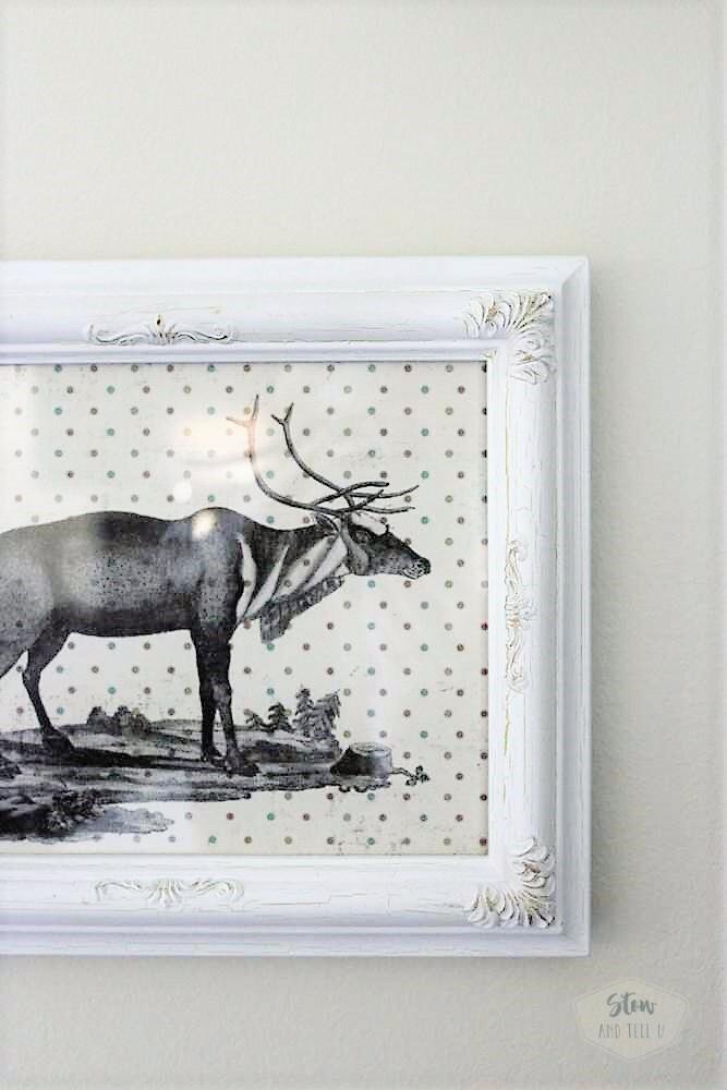 Christmas Reindeer Wall Art on Polka Dot Scrapbook Paper | StowandTellU