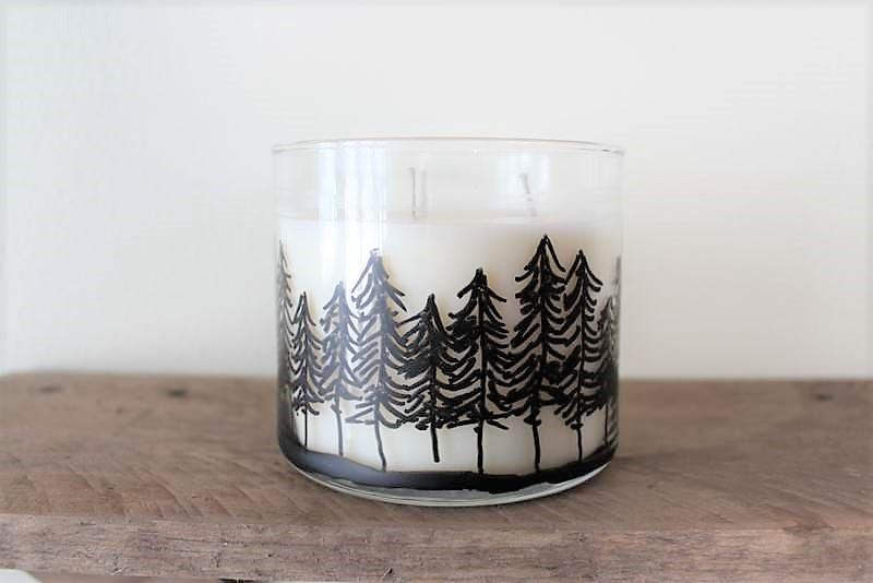 How to draw pine treeline on candles jars   Cabin decor   Cabin fever craft   stowandtellu.com