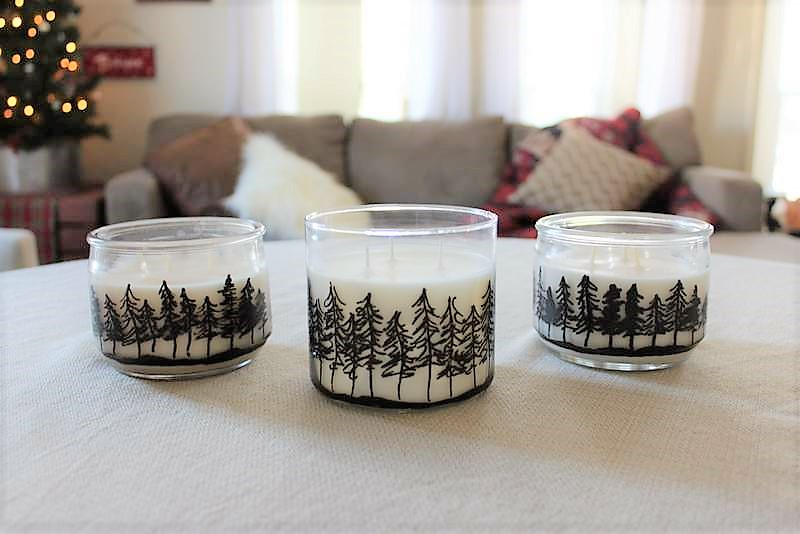 30 minute winter draft | Pine treeline drawing jar candles | stowandtellu.com