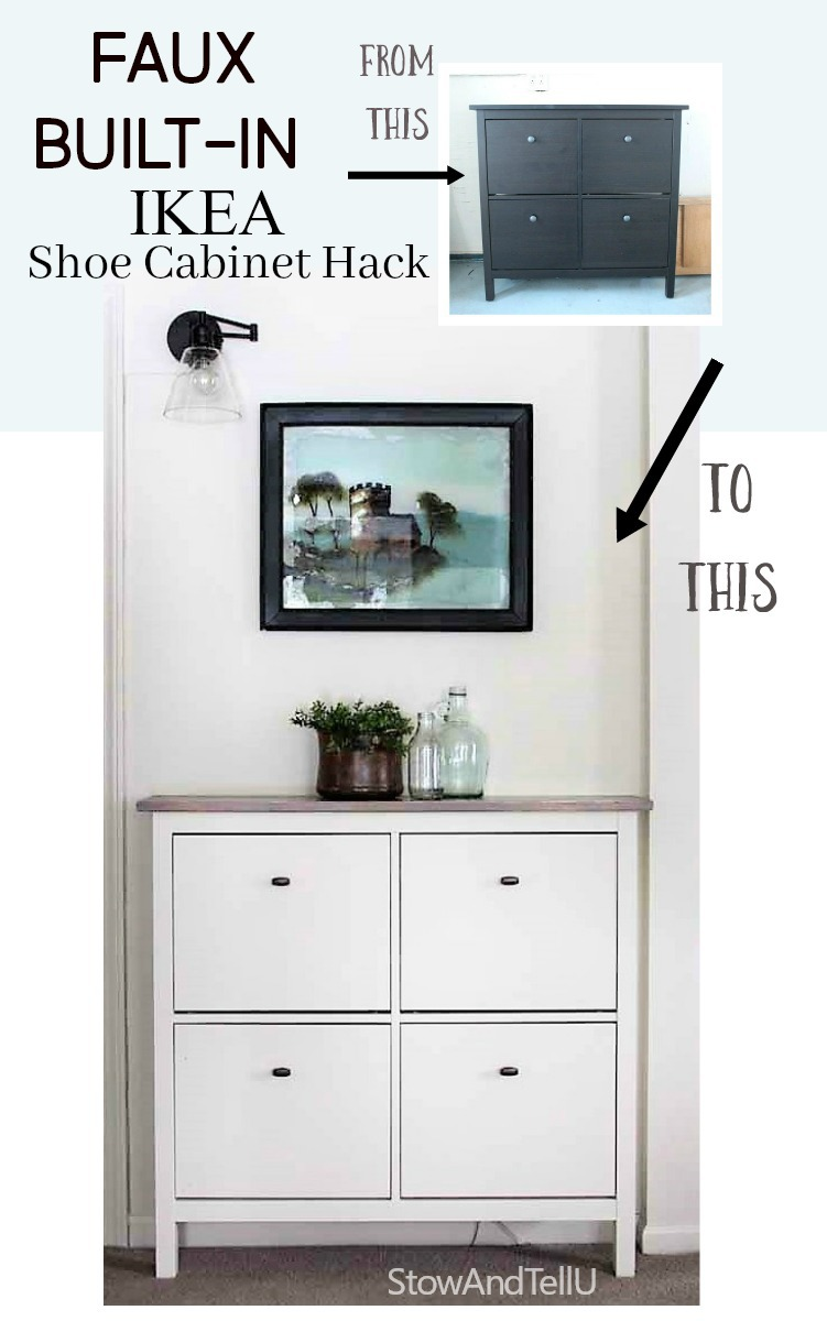 Faux Built In Ikea Shoe Cabinet Hack | Stowandtellu.com