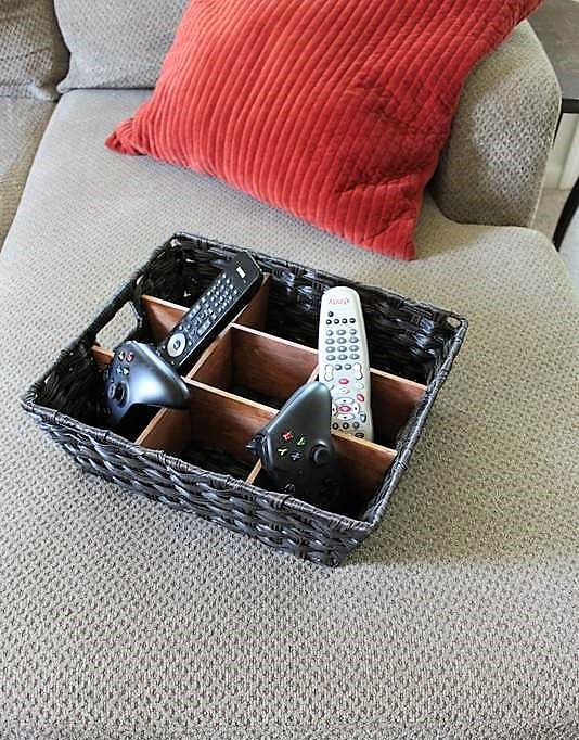 Black Wicker Basket with diy wood divider insert   DIY Remote Control Storage Organizer