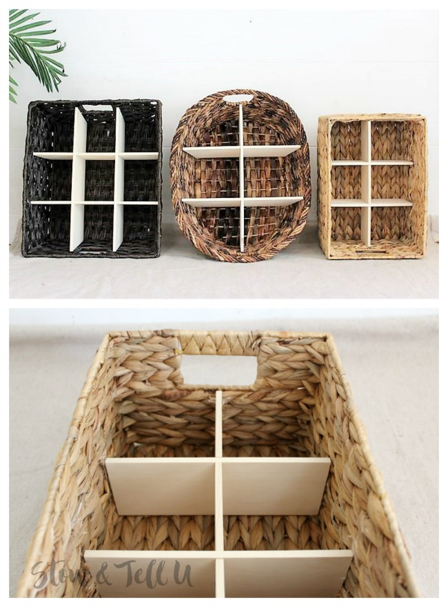 DIY Wicker Divided Baskets with Slotted Wood Inserts | StowandTellU.com