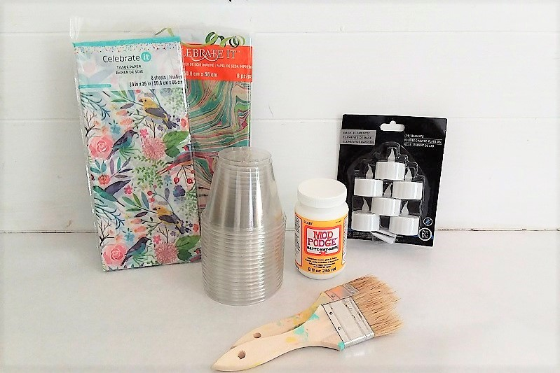 Supplies to make tissue paper tea lights | tissue paper, plsstic cups, decoupage | stowandtellu.com