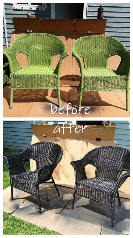 Before and after spray painting resin wicker chairs | How to spray paint resin and plastic wicker chairs | stowandtellu.com