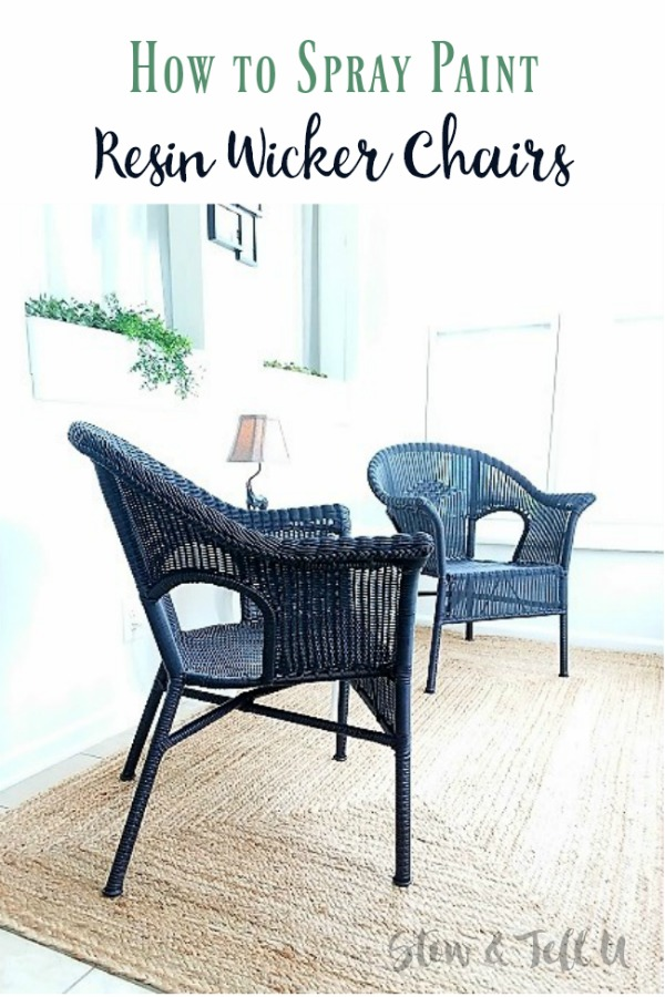 Black wicker chairs | How to spray paint a resin wicker chair | stowandtellu.com