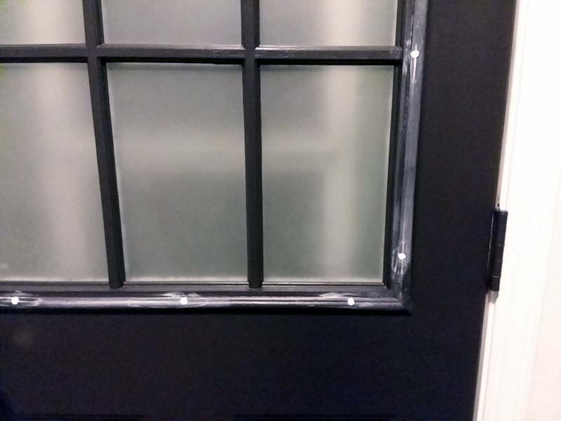Black Painted Grid Window with Spackle | 10 Steps for Painting Grid Doors and Frosting Glass Window Lites
