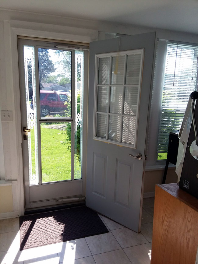 White-gray entry grid door   10 Steps for Painting Grid Doors and Frosting Glass Window Lites