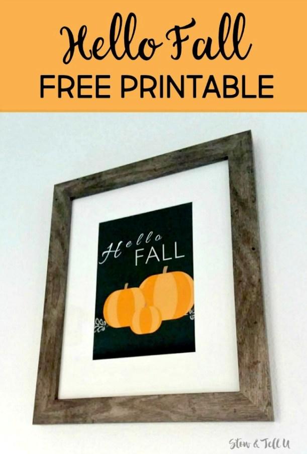 Hello Fall pumpkin Free printable sign/artwork | stowantellu.com