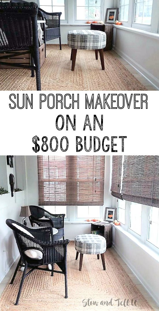 Small Sun Room Makeover on an $800 Dollar Budget