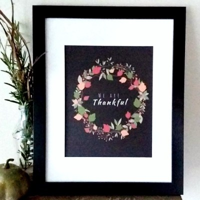 Colorful We Are Thankful Thanksgiving Wreath Free Printable