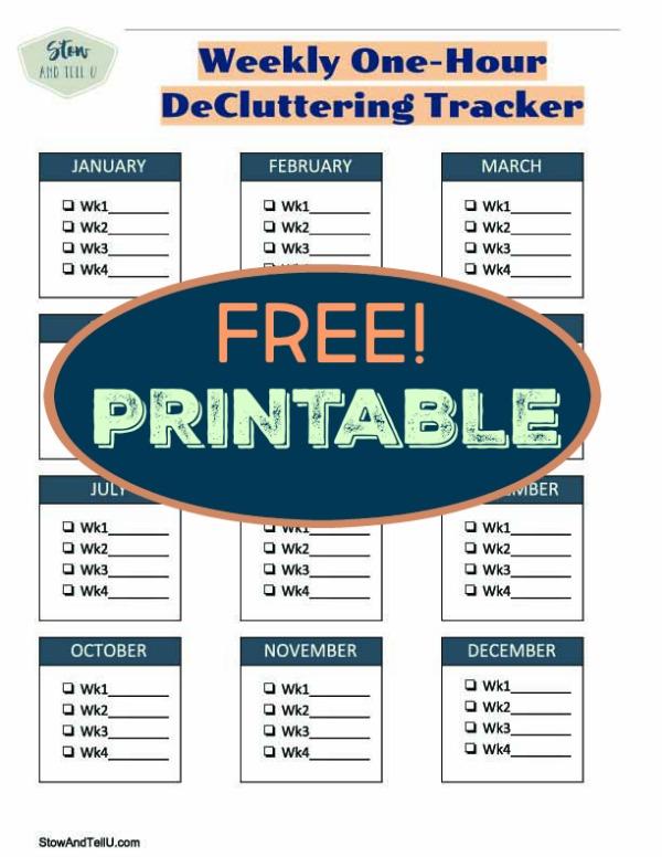 FREE Printable One Hour Weekly Decluttering Calendar