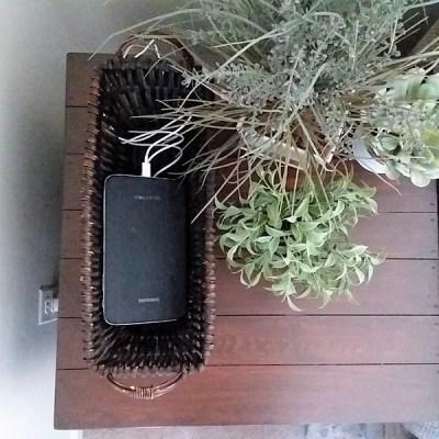 Basket Phone Charging Station on Tabletop