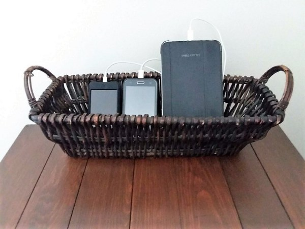 Basket with tablet and phones