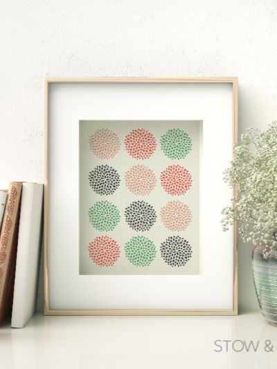 Framed Spring Multi-Colored Artwork on Shelf with Plant