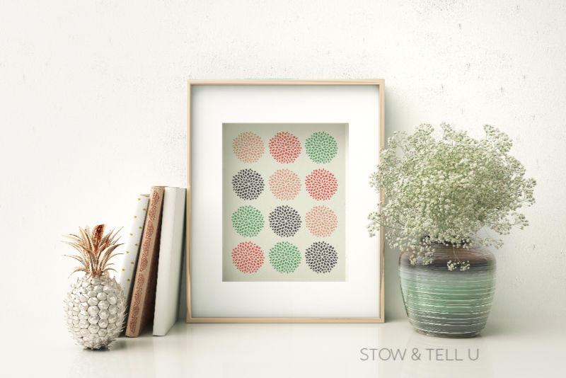 Framed Spring Multi-Colored Artwork on Shelf with Plant