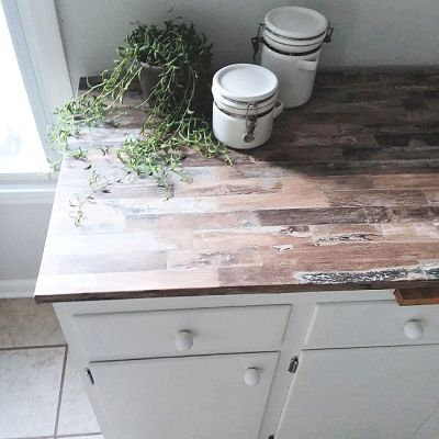 Faux Wood Countertop Covered with Peel and Stick Removable Wallpaper