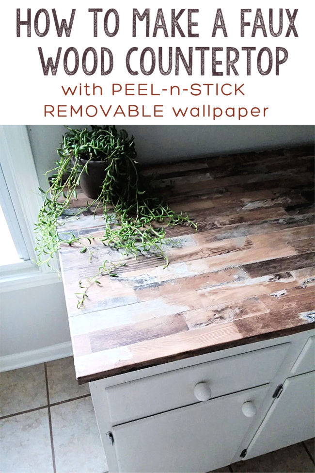 Faux Wood Counter Top with Wallpaper