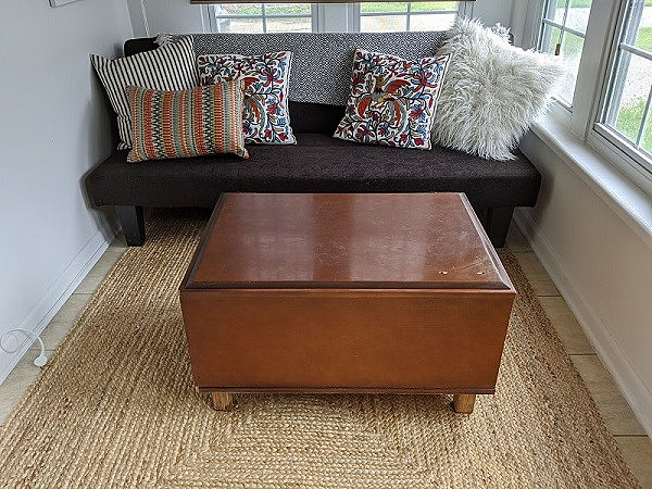 diy boho wallpaper coffee table bench