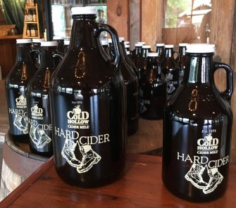 June 2, 2018 - Growlers at Cold Hollow Cider Mill in Waterbury, Vermont