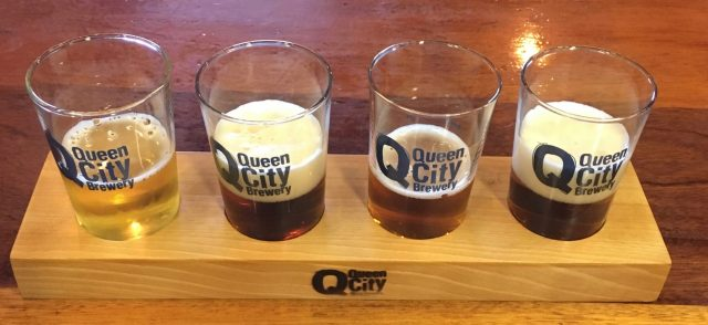 July 3, 2018 - Samples at Queen City Brewery in Burlington, Vermont
