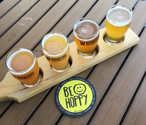 July 31, 2018 - Samples at Wormtown Brewery in Worcester, Massachusetts