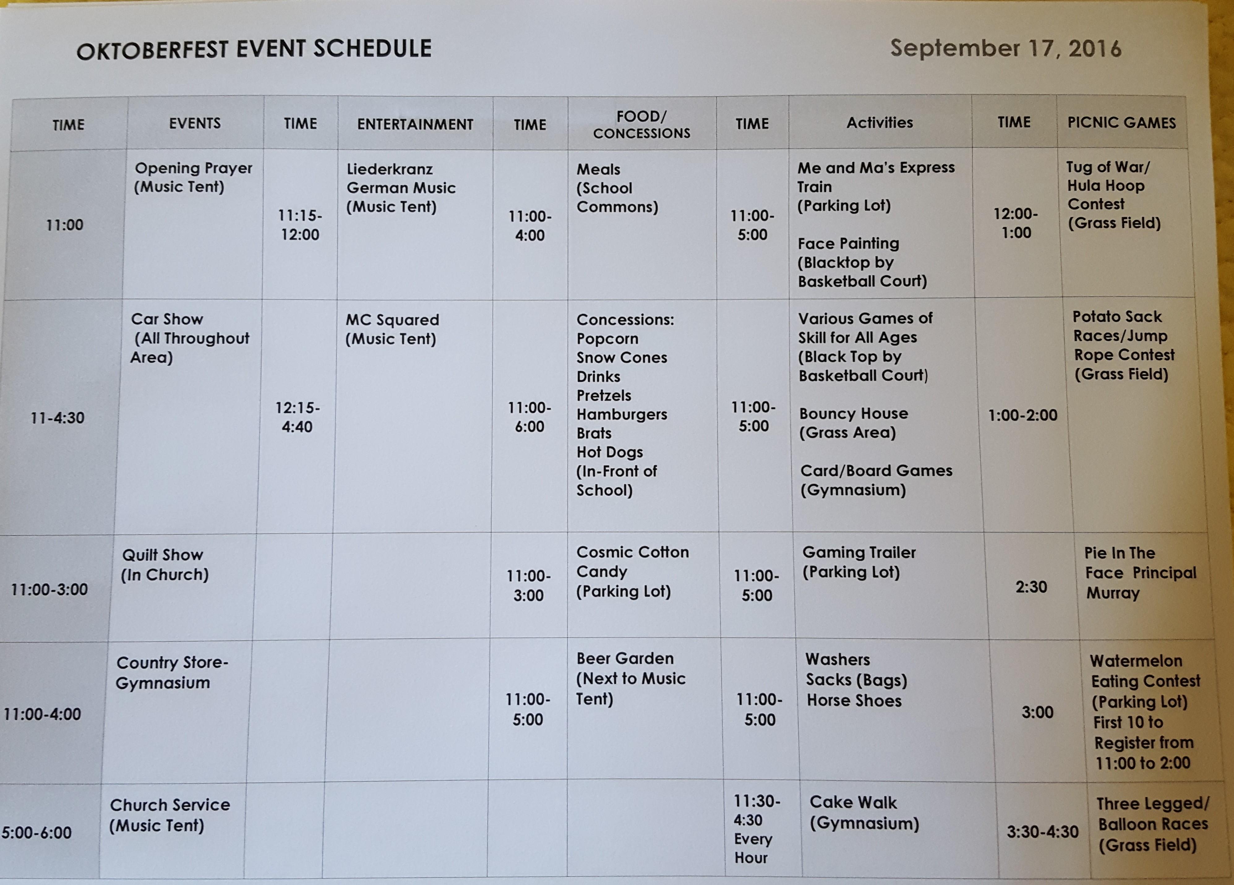 Oktoberfest Schedule