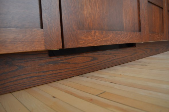 red oak cabinet toe-kick