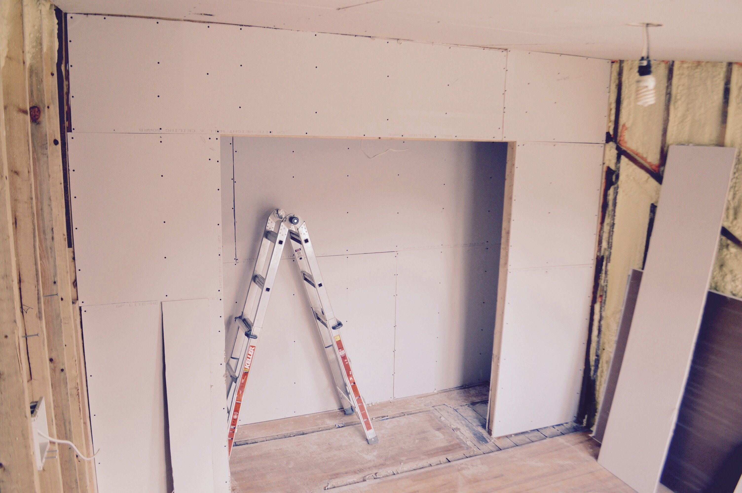How to hang drywall on walls - We Are Prepping The Stairwell Area To Make A Seamless Transition Between The Old Plaster Walls And The New Drywall