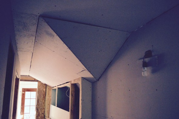 drywalling angled ceiling