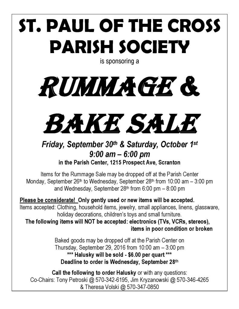rummage sale sacred hearts church