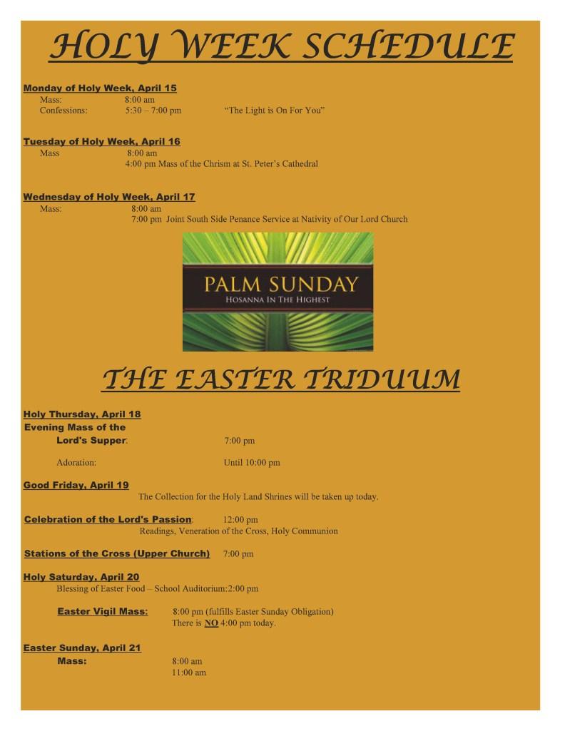 Easter Schedule 2019