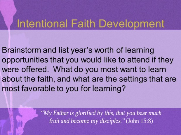 Intentional Faith Development